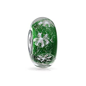 Grün Weiß Schneeflocke Aus Muranoglas Silber Spacer Bead Charms Passend Für Europäische Charm Armbänd Für Damen