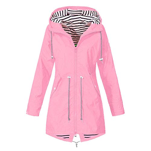 Winter Parka Mantel Warm bequem Solide Regenjacke Outdoor Jacken Wasserdicht mit Kapuze Regenmantel Winddicht Coat (EU-46/CN-XL,Rosa) ()