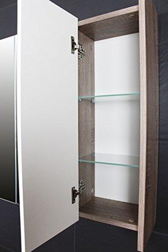 Galdem FROSTI Spiegelschrank 70cm Badezimmerschrank Wandschrank Badmöbel 3 Spiegeltüren 6 Einlegeböden Sonoma Eiche Dunkel - 3