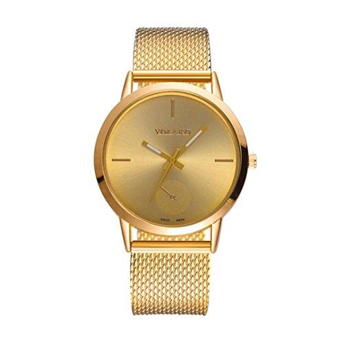 Hevoiok Modisch Uhren Damen Herren Mesh Gürtel Armbanduhr Neu Glasspiegel mit hoher Härte Exquisit Unisex Uhr (Gold)