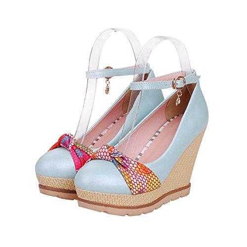 VogueZone009 Damen Schnalle Rund Zehe Mittler Absatz Pu Leder Gemischte Farbe Pumps Schuhe Blau