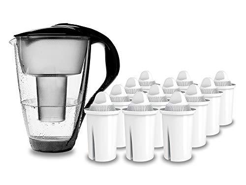 PearlCo - Glas-Wasserfilter (schwarz) mit 12 classic Filterkartuschen - passt zu Brita Classic