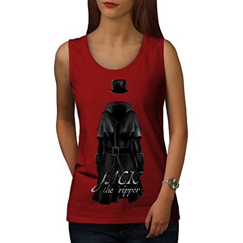 The Damen Ripper Kostüm Jack - wellcoda Jack Ripper Killer Frau Tank Top Tod Athletisches Sport-Shirt