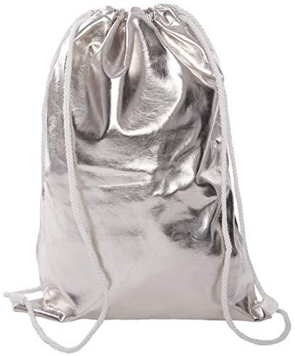 Beutel Aufdruck Tasche Rucksack Jutebeutel Muster Hipster Turnbeutel Gym Stringbags Bag, Unisex (Silber/Metallic)