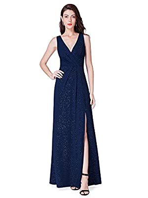 Ever Pretty Women's Elegant V Neck Floor Length A Line Long Knit with Glitter Formal Evening Dresses 07505
