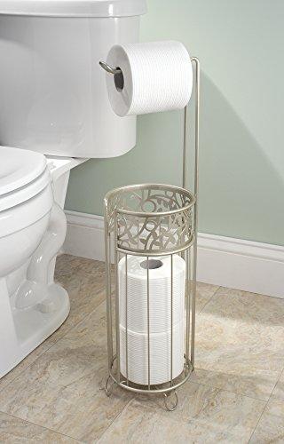 Mdesign portarrollos de pie con cesta para papel higi nico elegante portarrollos sin taladro - Albero porta carta igienica ...