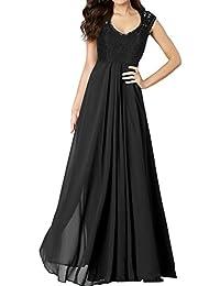 Miusol® Damen Sommerkleid Elegant Spitzen Abendkleid V-Ausschnitt Brautjungfer Cocktailkleid Chiffon Faltenrock Langes Abendkleid Schwarz Größe 36-50