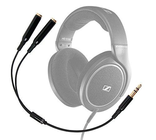 DURAGADGET Práctico Divisor De Auriculares Para Auriculares Sennheiser HD 598 | Aukey EP-B26 | NUBWO S1 Bluetooth 4.1 | Sunvito 4 en 1 - Entrada De 3.5mm