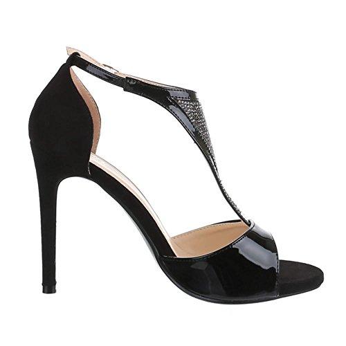 Ital-design Sandali Tacco Alto Scarpe Donna Tacco Tacco A Spillo / Tacco A Spillo Tacco Alto Sandali Con Fibbia / Sandali Nero