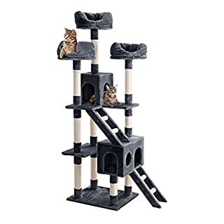 Finether Cat Tree Cat Tower Cat Tree Tower Cat Tree Tall Cat Scratcher Cat Play Tower Centre 181 cm Cat Tree Tower Furniture Kitten Playhouse with Sisal Scratching Posts/Perches/Platforms/Ladders