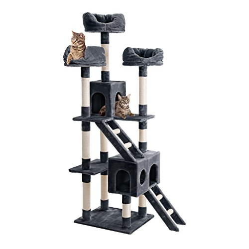 Finether Cat Tree Cat Tower Cat Tree Tower Cat Tree Grey Cat Furniture Cat Scratcher Large Cat Tree Activity Centre Cat Play Tower 181 cm High Multi-tier Cat Tree Tower Furniture Kitten Playhouse with Sisal Covered Scratching Posts/ Perches/ Platforms and