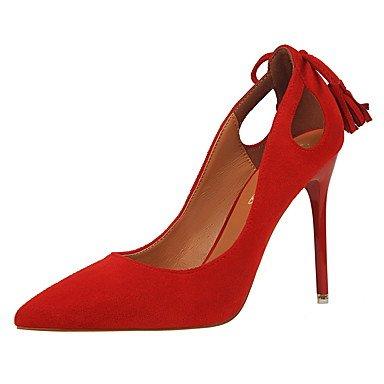 Moda Donna Sandali Sexy donna caduta tacchi Comfort abito scamosciato Stiletto Heel fiocco nero / rosa / rosso / grigio / arancio / Kaki passeggiate Pink