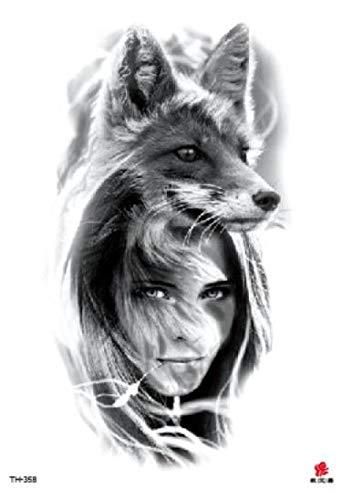 Kostüm Childs Wolf - Temporäre Tattoos Fake Tattoos Aufkleber Wolf Girl Big Size Tattoos Aufkleber Tattoos Wasserdichte Flash Tattoos Für Männer Frauen