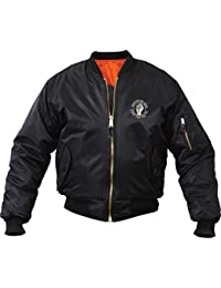 Keep The Faith Embroidered MA1 Flight Jacket Bomber Mod Skin Scooter Orange Lining Coat.