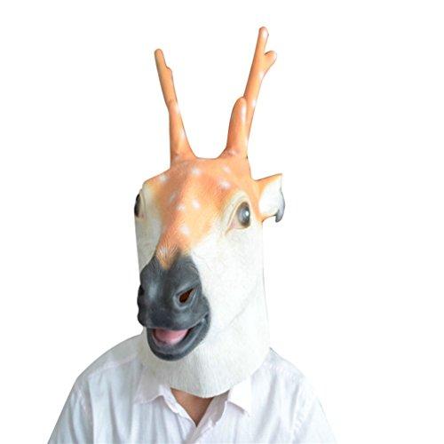 Jitong Latex Tier Kopf Maske für Halloween Maskerade-Parteien Kostüm Tiermaske (Hirsch)