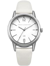 French Connection PU SFC112W - Reloj de cuarzo para mujeres con esfera blanca y correa blanca de cuero