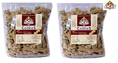 Nootie Freshly Baked Real Chicken and Peanut Butter Cookie, 1 kg Pack (Pack of 2)