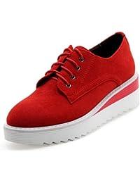 SHOWHOW Damen Modisch Mittler Absatz Durchgängiges Plateau Runde Zehen Sneakers Rot 36 EU