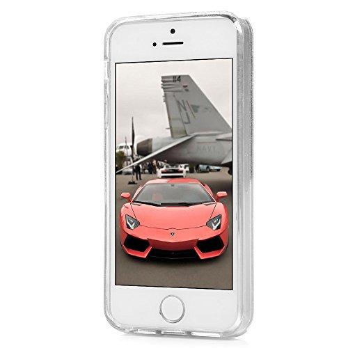 iPhone 5S Cover Silicone e Bling Glitter Brillanti, iPhone 5 SE Custodia Morbida TPU Flessibile Gomma QuickSand Stella - MAXFE.CO Case Sottile Cassa Protettiva per iPhone 5/5S/SE - Bling Rosa Viola