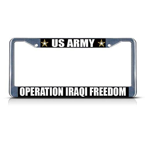 (US Army Operation Iraki Freedom Army Metall Nummernschild Rahmen Tag Bordüre Perfekt für Männer Frauen Auto Garadge Dekor)