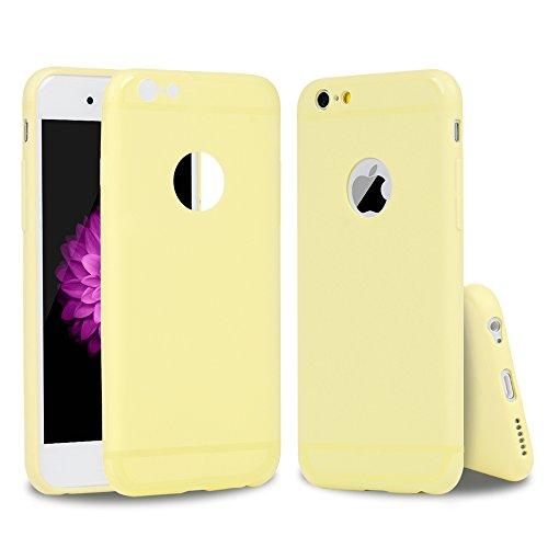 YOKIRIN Coque iPhone 6 4.7 Pouces Housse Étui TPU Silicone Souple Découp du Logo Phone Case Cover Ultra Mince Gel Slim Personnalité Pratique - Rose + Beige Semi-transparent + Beige