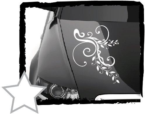 DD Dotzler Design Tuning V1 Blumenranke Floral Aufkleber für Motorhaube Heckscheibe Autoaufkleber (60 x 40 cm Weiss)
