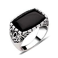 925k Silver Men Ring with Black Zircon