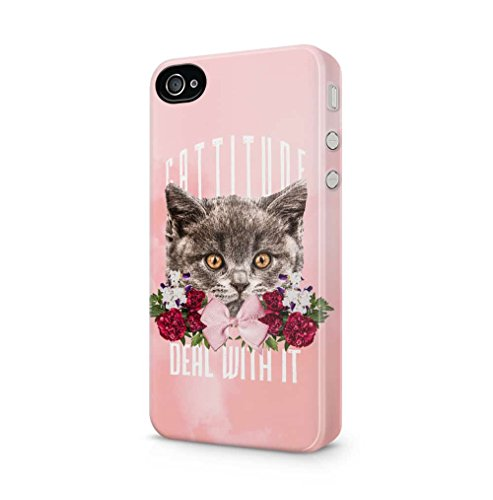 Maceste Cattitude Deal with It Cute Floral Cat Head Kompatibel mit iPhone 4 / iPhone 4S SnapOn Hard Plastic Phone Protective Fall Handyhülle Case Cover (Adorable Iphone 4s Fällen)