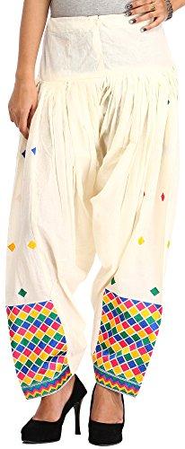 Exotic India Off-White Patiala Salwar from Punjab with Phulkari Embr - Off-White