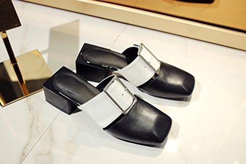 Calaier Femme Caworst 4CM Bloc Glisser Sur Mules et sabots Chaussures Blanc
