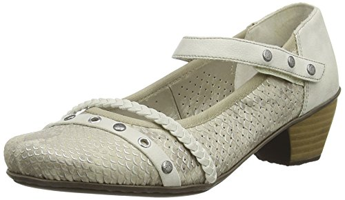 Rieker41765 Women Closed-Toe - Scarpe con Tacco donna , Bianco (Off White (Pearl)), 39 EU