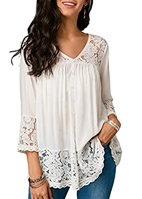 FISOUL Floral Lace Top for Women Long Sleeve Loose Blouse Stretch T-Shirt Tunic Party Top Plus Size