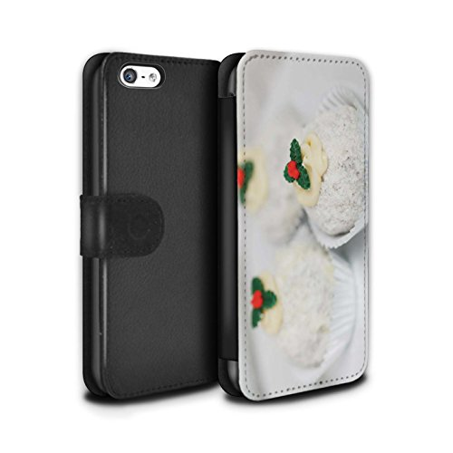 Stuff4 Coque/Etui/Housse Cuir PU Case/Cover pour Apple iPhone 5C / Pack 6pcs Design / Nourriture de Noël Collection Gâteaux Blancs