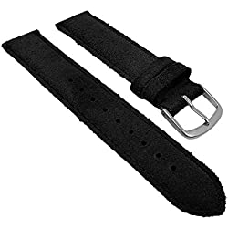 Herzog Replacement Watch Strap/Band Black 26744S Bridge Suede Width: 20 mm