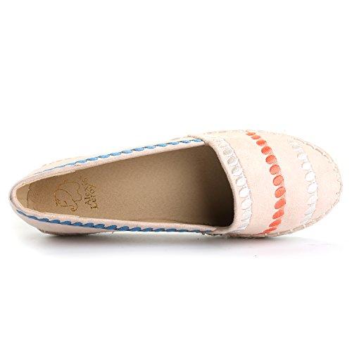Alexis Leroy Sommer Stripe Canvas Schuhe Damen Flache Espadrilles Beige