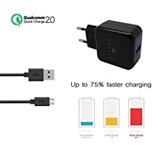 Cargador de red USB turbo rápido con tecnología Qualcomm QuickCharge 2.0 para Quick Charge Samsung Galaxy S6 & S6 edge, Note 4/Note Edge, Google Nexus 6, Motorola Moto X (2014), HTC One (M9), (M8), Desire Eye, One Mini 2, Sony Xperia Z3, Z2 Compact, tablets y otros