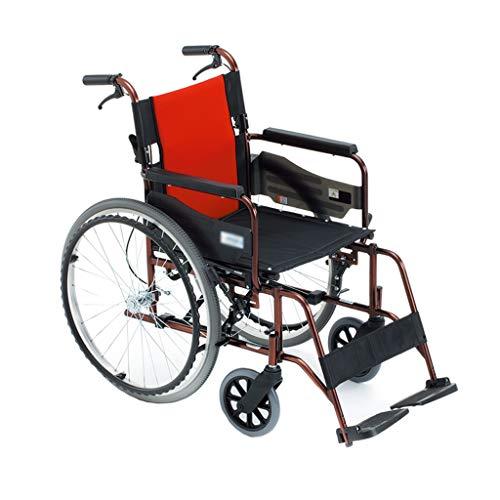 HEUFHU888 Sedia a rotelle Pieghevole per sedie a rotelle Sedia a rotelle Anteriore e Posteriore per disabili in Alluminio Ultraleggero (Colore : Red)