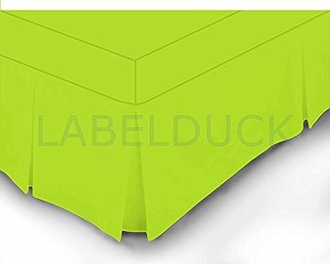 2Stück Lime Grün Double und King Size Bett Spannbetttuch mit Kellerfalten Volant/S 100% Polycotton 180Fadenzahl Perkal, Polycotton, lindgrün, (Yellow Moses Basket)