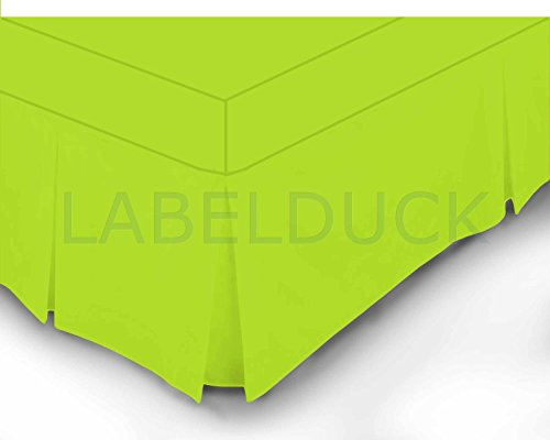 Confezione da 2lime verde matrimoniale e king size lenzuolo mantovana scatola pieghettato/s 100% policotone percalle 180fili, Policotone, Lime Green, Doppio