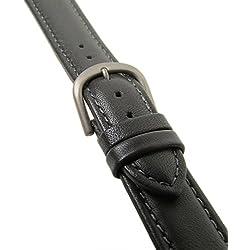 Ersatzband Uhrenarmband Kalbsleder Grau Titanschließe 20609T, Stegbreite:14mm