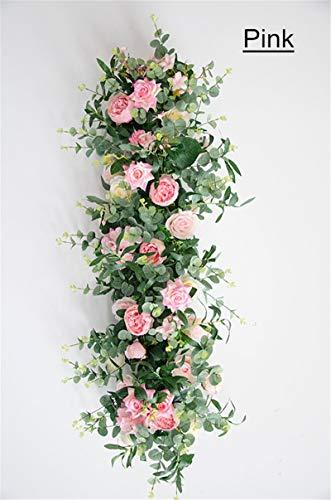 Bureze Künstlicher Blumenbogen + Olivenblatt DIY Hochzeit Bogen Arch Arch Blumenläufer Seidenblume Wand Deko Hochzeit Reihe