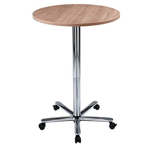 DR-Büro runder Säulenhubtisch stufenlos höhenverstellbar 72 - 114 cm - Durchmesser 80 cm - Meetingtisch Gestell chrom - mit Rollen und Gleitern,...
