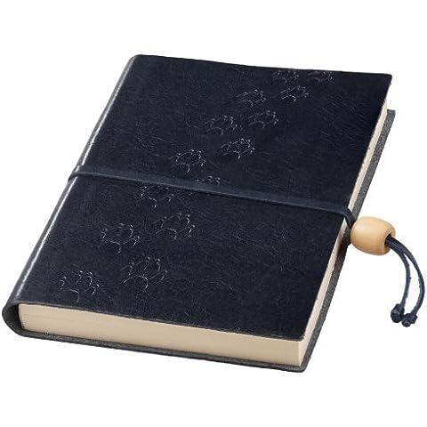 Amarcord-Bloc-notes con copertina in pelle goffrata, con chiusura con perline in legno, motivo: impronte di cane