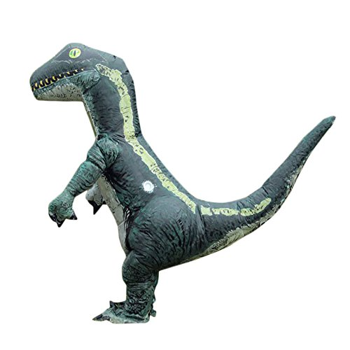 Halloween Aufblasbarer Anzug Kostüm Dinosaurier Tier Schrecklich Cosplay Party Karneval mit Gebläse Grün Erwachsene 155-190cm