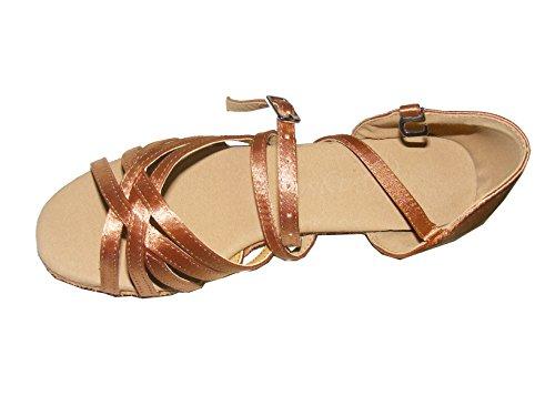 Pobofashion Klassische bronzefarbene Satin-Kinderschuhe für lateinamerikanische Tänze-Tanzschuhe (EU35, Bronzefarben)