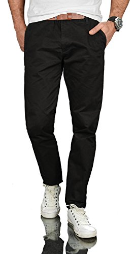 A. Salvarini Herren Designer Business Chino Hose Chinohose Regular Fit AS-095 [AS-095 - Schwarz - W38 L32] -