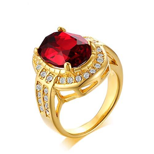 HFJ&YIE&H 10 mm breite Damen Rostfreier Stahl Titanring Hochzeitsband Poliertes Finish Roter Glasstein Zirkonia Rubinring Komfort fit Größen 8-12 Gold,7# (Gold Herren Ringe Größe 11)