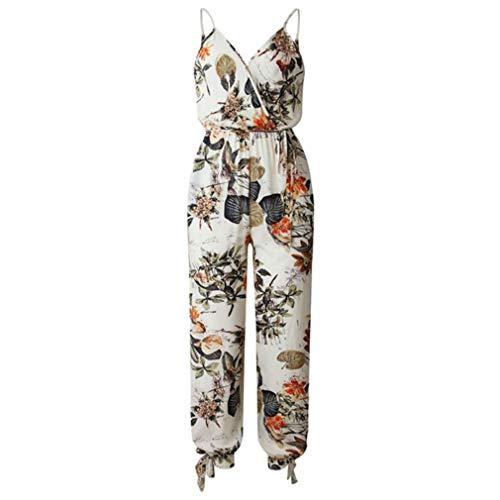 p Jumpsuit Floral Print mit V-Ausschnitt, rückenfreier, weit geschnittenen Boho-Overall mit Strampelanzug, cremeweiß, XL ()
