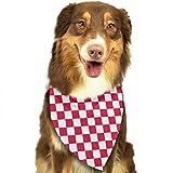 Osmykqe Red Checkered White Squares Hund Bandana Pet Schal für kleine mittelgroße Hunde Zubehör