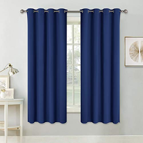 Pony dance tende corte blu da sola per camera da letto cucina, 140 x 180 cm (larghezza x lungo), 2 pezzi